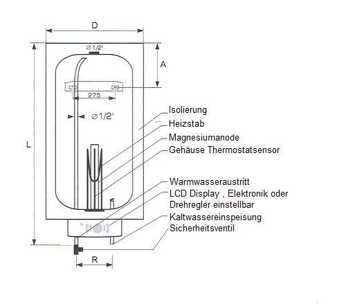 100 liter neptun lux elektronik boiler mit led anzeige heizung solar24. Black Bedroom Furniture Sets. Home Design Ideas