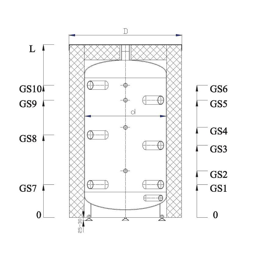 200 l liter pufferspeicher ohne isolierung ohne. Black Bedroom Furniture Sets. Home Design Ideas