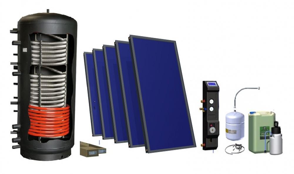 komplett solaranlage 5 x kollektoren 10 45 m 600 liter heizung solar24. Black Bedroom Furniture Sets. Home Design Ideas