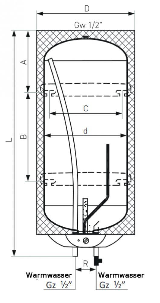 80 Liter Warmwasserboiler, Elektroboiler Neptun, 1500 Watt - Heizung ...