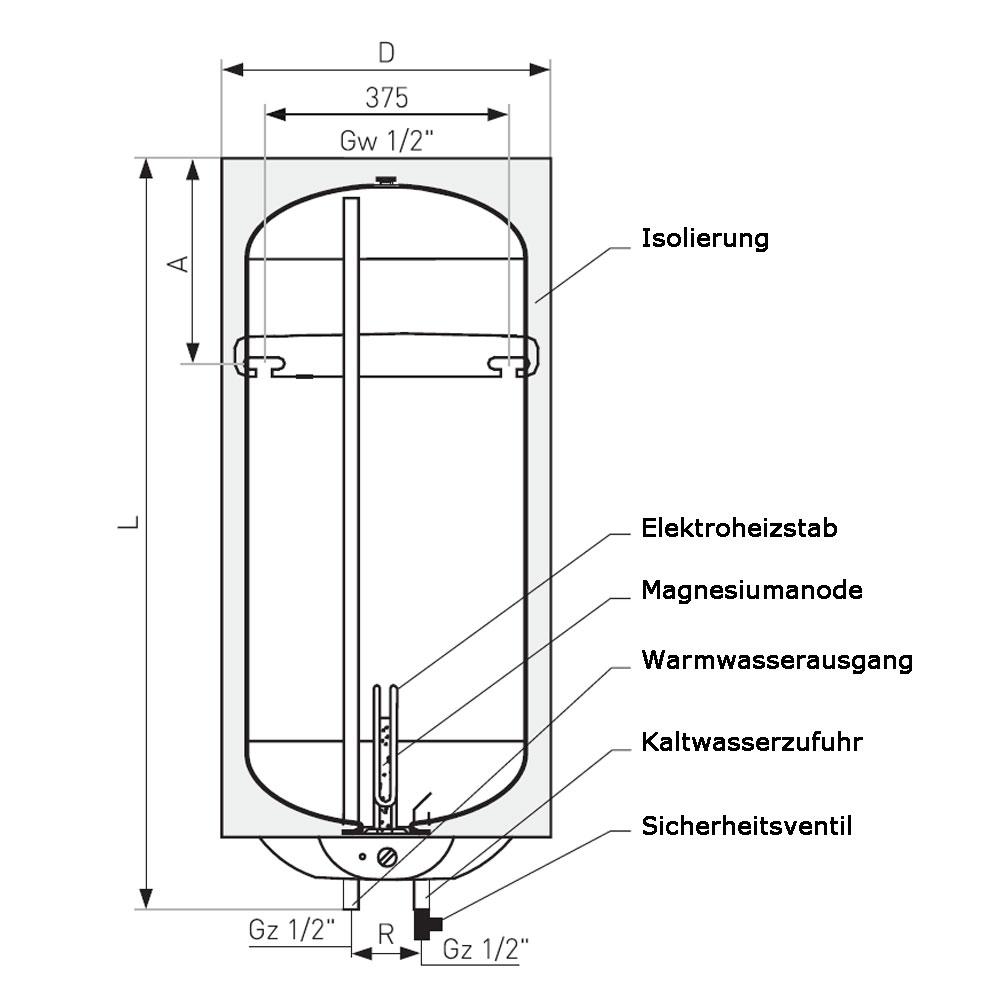 80 liter warmwasserboiler vulcan elektronik pro heizung solar24. Black Bedroom Furniture Sets. Home Design Ideas